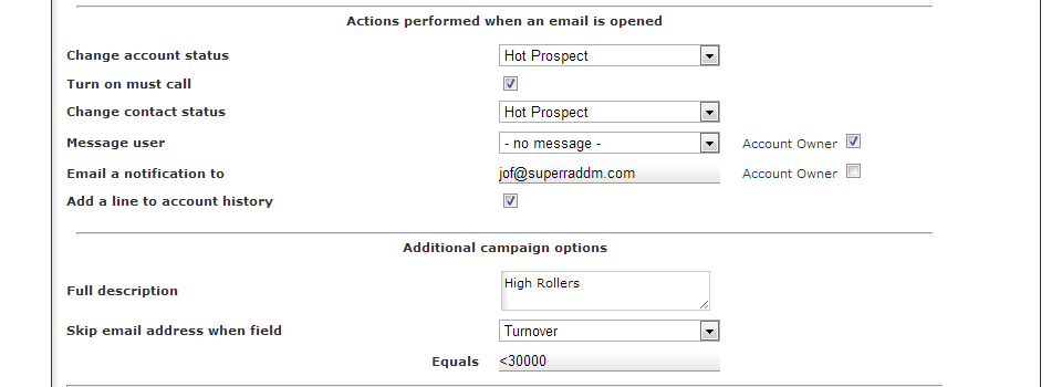 Automate responses to your campaigns